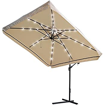 Yescom 9x9Ft Square Solar Power LED Patio Offset Umbrella Hanging Outdoor  Cantilever Crank Canopy