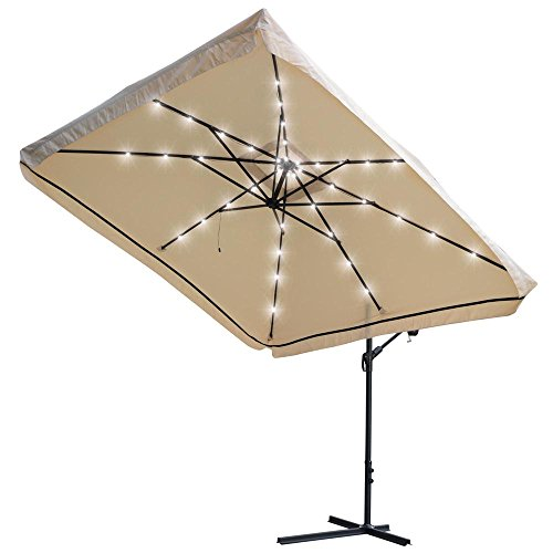 Yescom 9x9Ft Square Solar Power LED Patio Offset Umbrella Hanging Outdoor Cantilever Crank Canopy by Yescom
