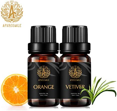 Aphrosmile Orange Vetiver Essential Oil - 100% Pure Orange Vetiver Oil, Organic Therapeutic-Grade Aromatherapy Essential Oil 10mL/0.33oz