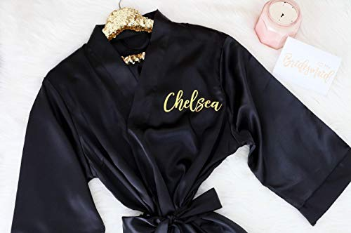 Joy Mabelle Women's Silky Short Satin Kimono Personalized Robes with Gold or silver letters Black Kimono Robe for bridesmaides and bridal party