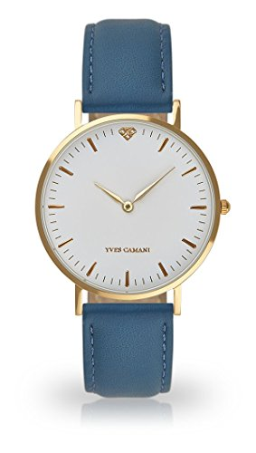 YVES CAMANI Amelie Women's Wrist Watch Quartz Analog Light Blue Leather Strap White Dial YC1097-B-743