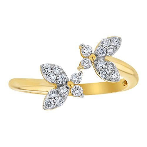 Olivia Paris 14k Yellow Gold Double Butterfly Pavé Diamond Ring (1/3 cttw, H-I Color, I1 Clarity) Size - 14k Ring Butterfly