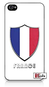 Premium France National Flag Badge Direct UV Printed iphone 5 5s Quality Hard Snap On Case for iphone 5 5s G T Sprint Verizon - White Case Cover