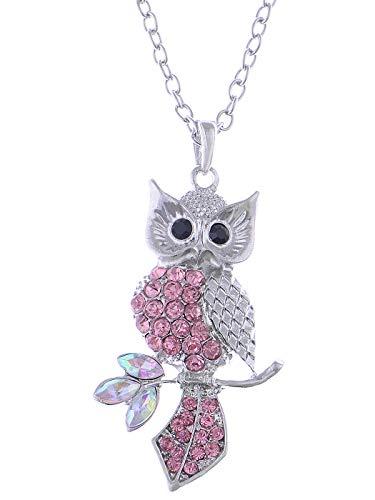 Alilang Silvery Tone Pink Crystal Rhinestone Leaf Owl Bird Pendant Necklace
