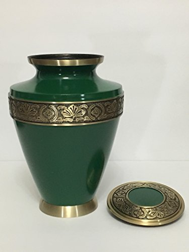 713 Green Cremation Urn with Gold Floral Border, Affordable Urn for Human Ashes – Large Size