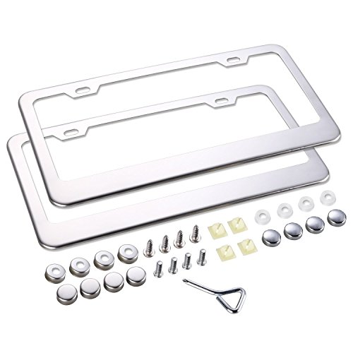 Lizber Polished Mirror License Plate Frames Stainless Steel 2 Pieces + Chrome License Plate Screw Caps (Polished License Plate Frame compare prices)