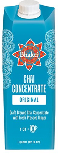 Bhakti Fair Trade Dairy-Free Premium Chai Tea - Original Concentrate (32 ounce, 1 Count) - Experience the Fresh and Spicy Ginger Chai Difference