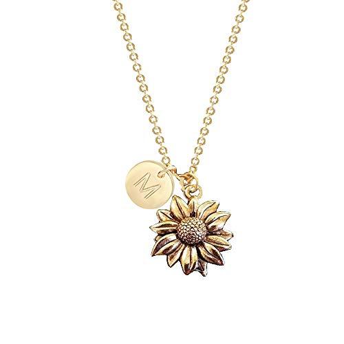 NOUMANDA Antique Gold Tone Sunflower Initial 26 Alphabet Necklace Personalized Natural Retro Pendant (M)