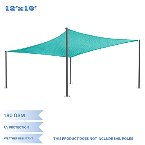 E&K Sunrise 12' x 16' Turquoise Green Rectangle Sun Shade Sail Outdoor Shade Cloth UV Block Fabric,Curve Edge-Customized ()