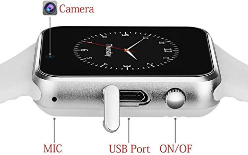 41WmuzPsatL Wowlook Bluetooth Smart Watch Compatible with All Phone with Camera and Sim Card Support for Men boy Kids Girls and Women (White)