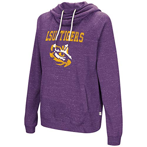 Colosseum NCAA Women's-I'll Go with You-Cowl Neck Hoody Sweatshirt-Team Color and Distressed Vintage Logo-LSU Tigers-Purple-XL ()