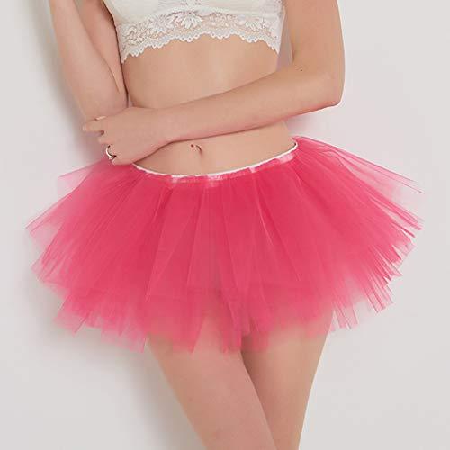 Pervobs Womens Cute Summer Solid Pleated Gauze Elastic Waist Short Skirt Loose Adult Tutu Dancing Skirt(Free, Hot Pink) by Pervobs Dress (Image #5)