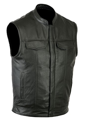Ruja Sports SOA Style Genuine Leather Motorbike Vest with Inside Pockets (6XL)