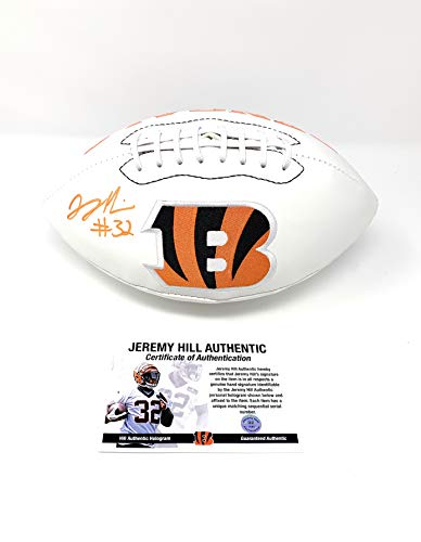 Jeremy Hill Cincinnatti Bengals Signed Autograph Bengals Logo Football JHILL Player Certified
