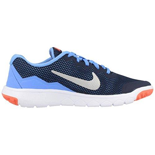 Nike Flex Experience 4 (GS) Scarpe Sportive, Ragazza Il Nero / Argento / Giallo / Bianco (Obsdn / Mtllc Slvr-brght Mng-wht)