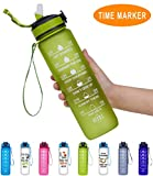 Giotto 32oz Large Leakproof BPA Free Drinking Water Bottle with Time Marker & Straw to Ensure You Drink Enough Water Throughout The Day for Fitness and Outdoor Enthusiasts-Green