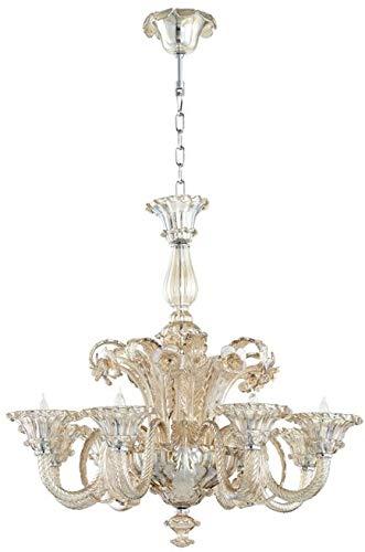 Cyan Design Chandelier LA Scala 8-Light Cognac Chrome Gold Leaf Iron New
