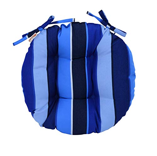 RSH Décor Indoor/Outdoor Round Tufted Bistro Chair Cushion with Ties - Made with Sunbrella Milano Cobalt (16