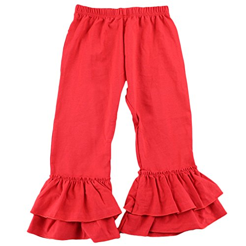 Dear Pageant Girl Costume (Little Girl's Double Icing Ruffle Leggings Flare Pants Cotton Slacks Activewear)