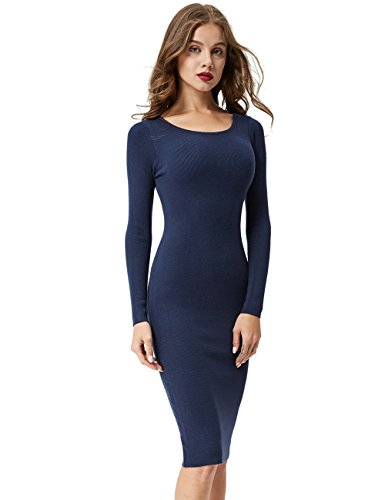 GLOSTORY Women Long Sweater Dress | Slim Fit Ladies Long Sleeve Sweater Dresses