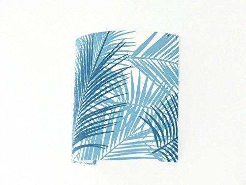 Applique murale feuilles exotique bleues - tropical demi cylindre - demi-lune 25x25cm - idée cadeau - wall light anniversaire fête des mères