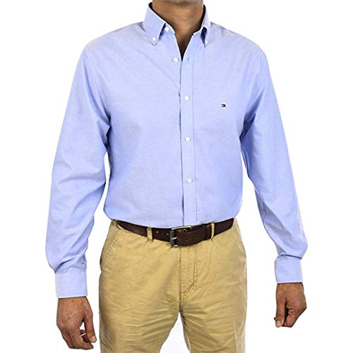Tommy Hilfiger Slim Fit Non Iron Oxford Solid Dress Shirt (16.5 34/35, Blue)