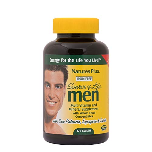 Lifes Essentials Plus Multivitamin - NaturesPlus Source of Life Men Multivitamin - 120 Vegetarian Tablets - Whole Food Supplement - Natural Energy Production & Overall Wellbeing for Men - Gluten-Free - Gluten-Free - 60 Servings