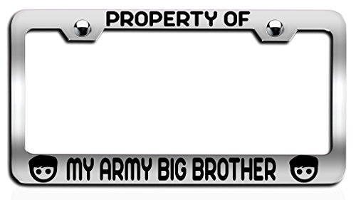 Makoroni - PROPERTY OF MY ARMY BIG BROTHER Brother Ch Steel License Plate Frame, License Tag Holder (Canada Property Brothers)