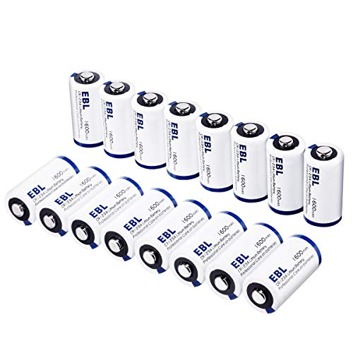 3v Photo Camera - EBL CR123A CR123 Lithium Batteries for Arlo Cameras, Polaroid, Microphones, Flashlight [CAN NOT BE RECHARGED] with Battery Storage Box, Pack of 16