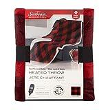 Sunbeam TST8TR-RP56-39C50 Royal Mink/Sherpa Reversible Heated Throw, Red/Black Lumberjack