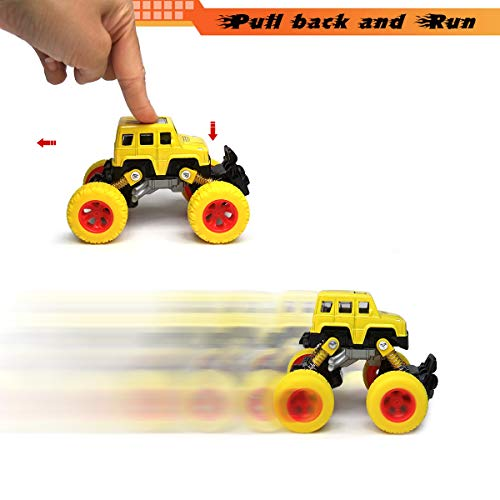 Toddler Toys Pull Back Cars, 4-Packs Cars Toys Trucks Toys, Pull Back Vehicles with Shockproof Spring and Textured Rubber Tires, Friction Powered Fun Toys for Toddler Boys Girls Aged 3 and Above