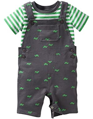 Carters Baby Boy Turtle French Terry Shortall Set Nb Green/grey