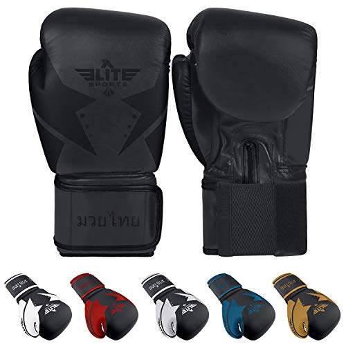 Elite Sports Muay Thai Star Gloves (Black, 10 oz)