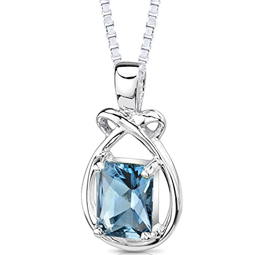 London Blue Topaz Pendant Necklace Sterling Silver Emerald Cut 1.75 Carats
