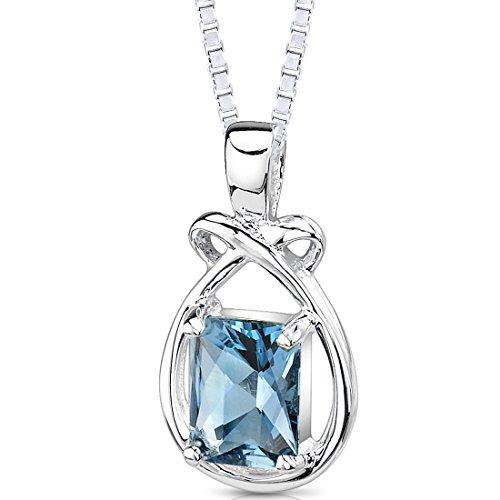 London Blue Topaz Pendant Necklace Sterling Silver Emerald Cut 1.75 - Carats 1.75 Swiss