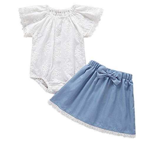 Toddler Newborn Baby Girl 2pcs Outfits Lace Ruffle Tops+Denim Shorts Skirt Clothes Set