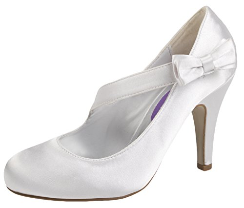 WOMENS SATIN BRIDAL WEDDING COURT PLATFORM HEEL SHOES IVORY WHITE LADIES 3 - 8 White Crossover Bow