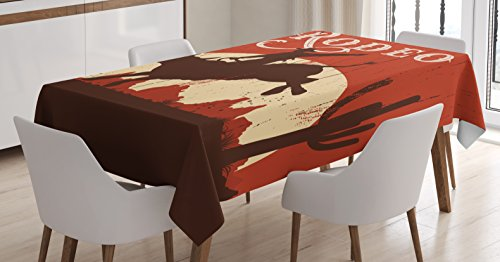 Vintage Tablecloth by Ambesonne, Rodeo Cowboy Riding Bull Wooden Old Sign Western Wilderness at Sunset Image, Dining Room Kitchen Rectangular Table Cover, 60 W X 84 L Inches, Redwood Orange (Vintage Bull)