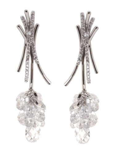 Delicious Grape-style Dangle Earrings w/White CZs ()