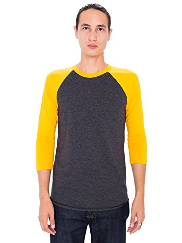 american-apparel-mens-poly-cotton-3-4-sleeve-raglan-shirt-heather-black-gold-large