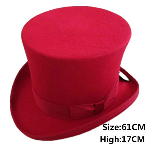 Steampunk Top Hat Victorian Vintage Wool Fedoras Hat Cylinder Hat Chimney Pot Hat,Red 61CM