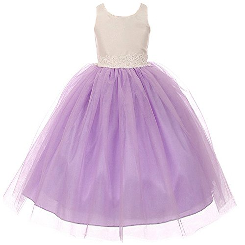Big Girls Fabulous Two Tone Organza Tulle Flower Girl Dress with Beautiful Waist Lace Lilac - Size 14 - Girls Lilac Flower Girl