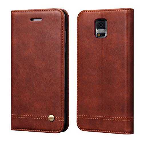 Galaxy S5 Case,RUIHUI Classic Leather Wallet Book Style Folding Flip Protective Shock Resistant Case Cover with Card Slots,Kickstand Magnetic Closure for Samsung Galaxy S5 (Brown) (Galaxy S5 Leather Case Brown)