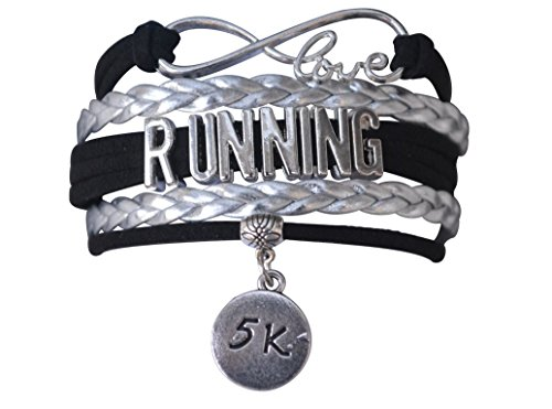 Infinity Collection Running Gifts- 5k Runner Bracelet, Running Jewelry, Adjustable Running Charm Bracelet- Perfect Cross Country, Track, Marathon Gifts ()