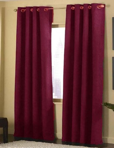 4-pieces Micro Suede Grommet Top Lined Panel Window Curtain Set, Burgundy (Suede Red Curtains)