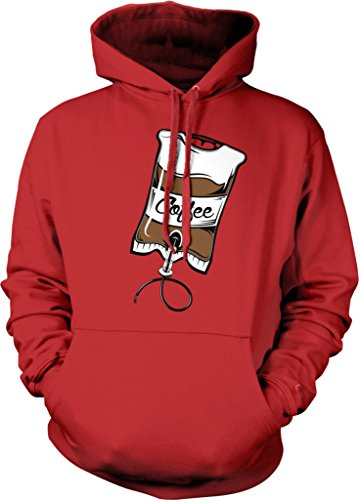Coffee IV Bag, Caffeine, Expresso, Love Coffee, Cappuccino Hooded Sweatshirt, NOFO Clothing Co. XXL Red
