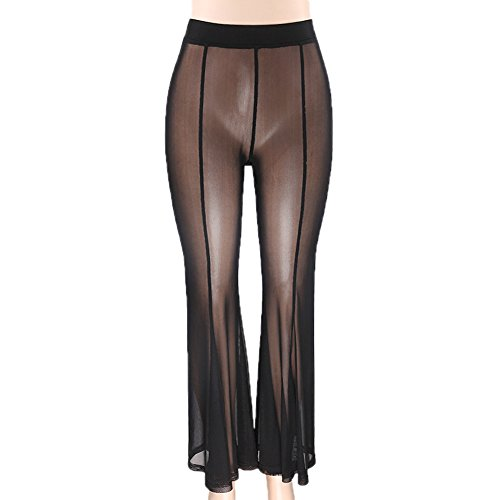 Alician Women Sexy Slim See-Through Net Yarn High Waist Trousers Long Pants(Black M) by Alician