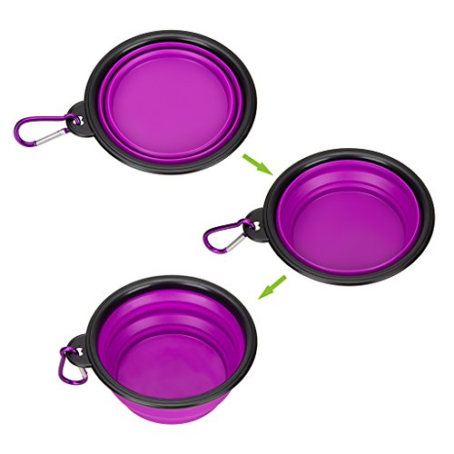 Collapsible-Silicone-Pet-Bowlset-of-2-IDEGG-Food-Grade-Silicone-BPA-Free-Foldable-Expandable-Cup-Dish-for-Pet-DogCat-Food-Water-Feeding-Portable-Travel-Bowl-Set-of-2-PurpleGreen