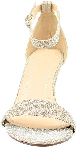 Cambridge Selezionare Donna Open Toe Single Band Cinturino Alla Caviglia Con Tacco Medio Sandalo Nudo Glitterato