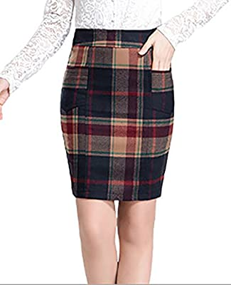 GAMT Woman's Pencil Skirt with Khaki Suede Plaid